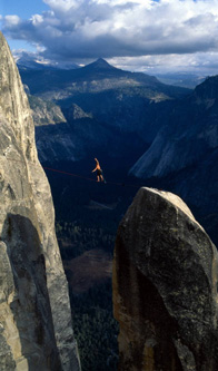 Click here to see important Warning. (Dean Potter is shown here soloing Taft Point. DO NOT ATTEMPT ANYWHERE!)